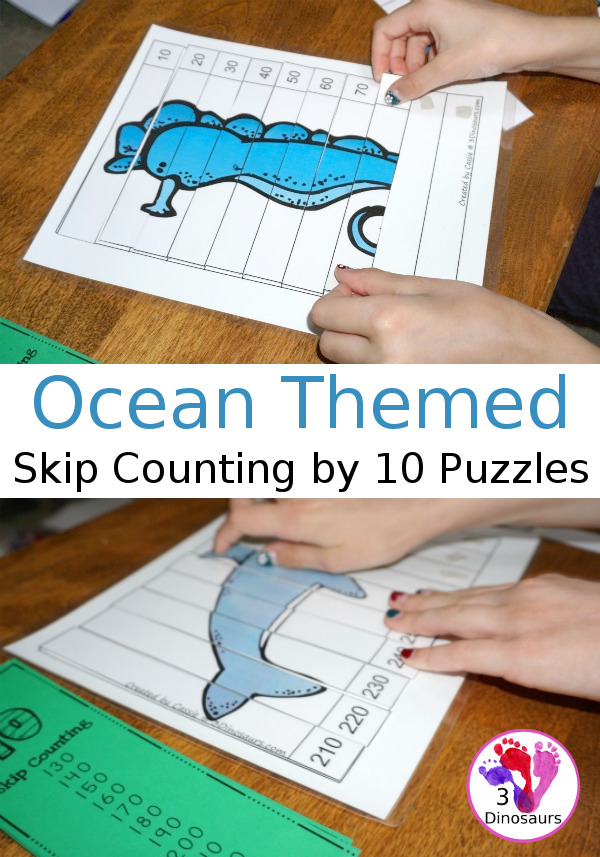 Free Hands-On Ocean Themed Skip Counting by 10 Puzzles - 4 pages of puzzles with template - 3Dinosaurs.com