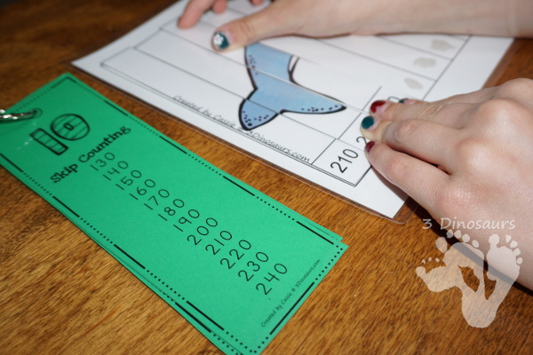Free Fun Space Skip Counting by 10 Puzzles - 4 pages of puzzles with template - 3Dinosaurs.com