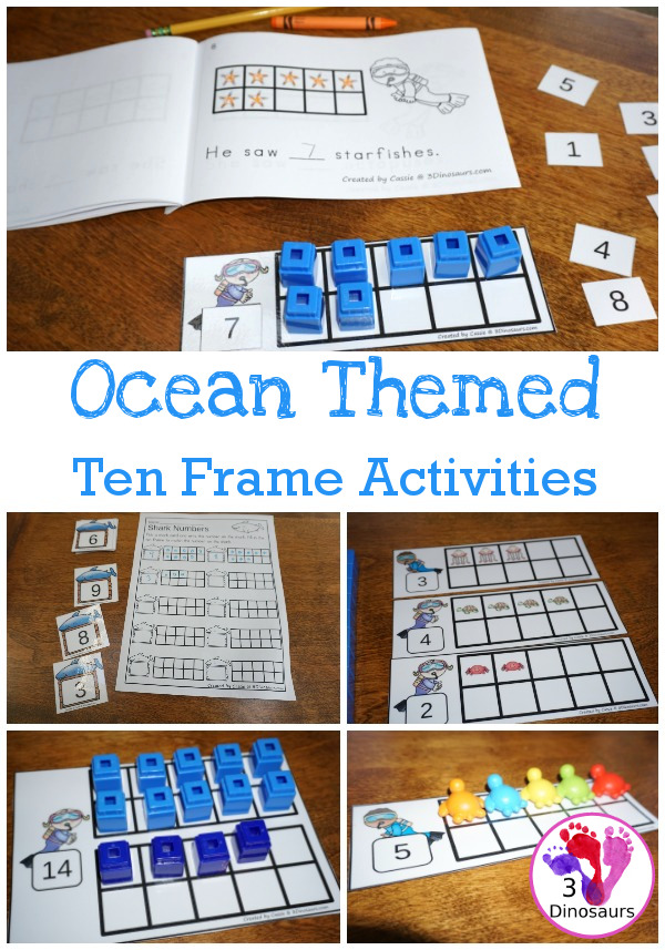 Ocean Themed Ten Frame Printables No Prep Hands On 81 Pages