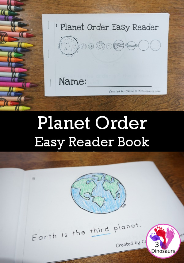 Free Order of the Planets Easy Reader Book - fun 12 page book using ordinal numbers - 3Dinosaurs.com