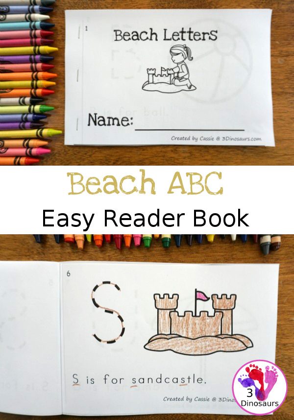 Free Beach Theme ABC Easy Reader Book - simple 8 page book to use with kids - 3Dinosaurs.com