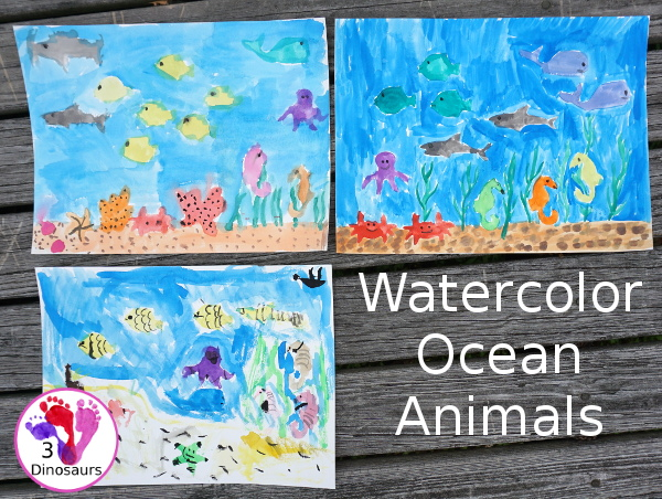 Watercolor Ocean Animals Painting - simple and easy watercolor painting activity for kids of different ages - 3Dinosaurs.com