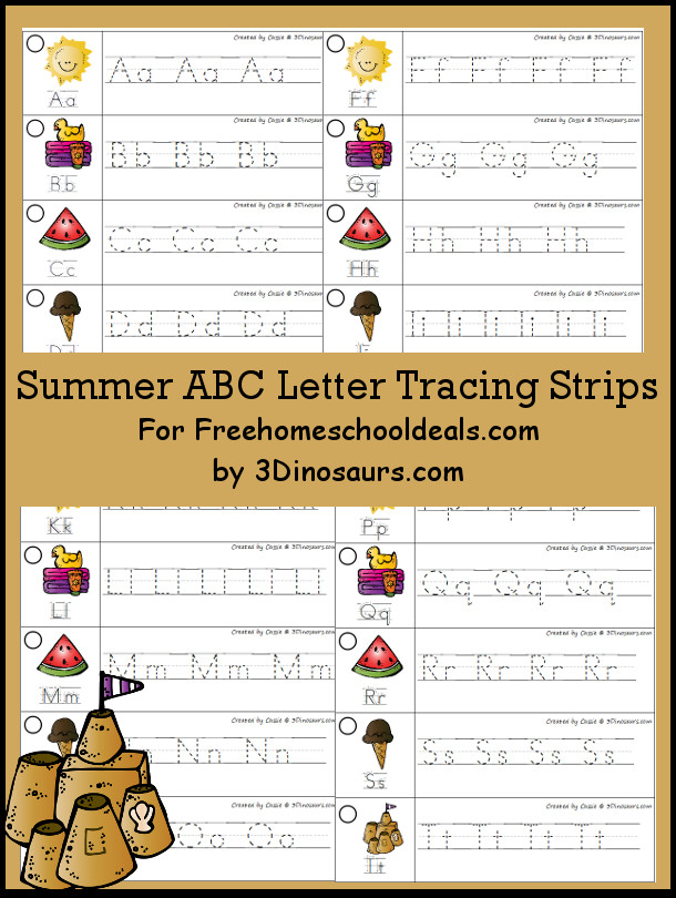 Free Summer Theme ABC Tracing Strips - with uppercase and lowercase together - 3Dinosaurs.com
