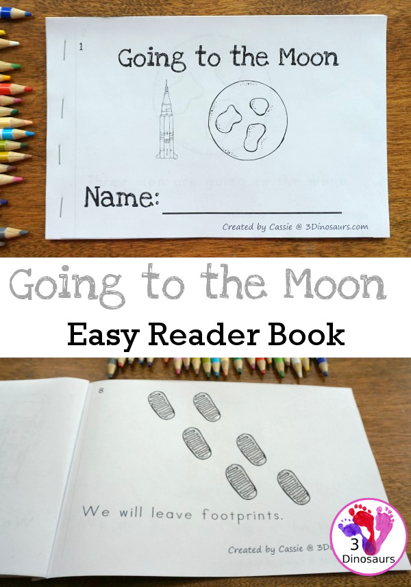 Free Going To The Moon Easy Reader Book- 8 page book with people from the first moon landing, about going and coming back  - 3Dinosaurs.com