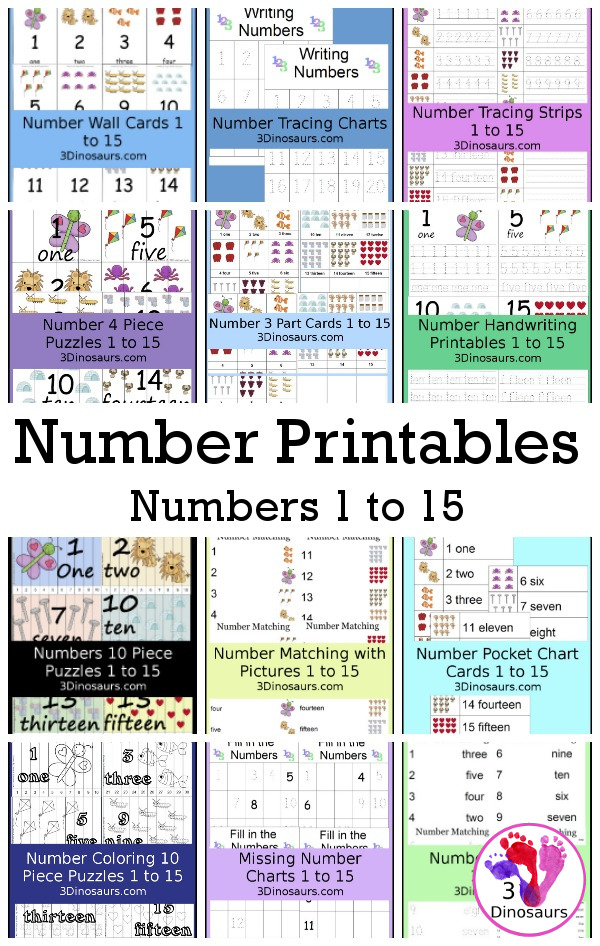 Free Number  Printables for numbers 1 to 15 - 3Dinosaurs.com