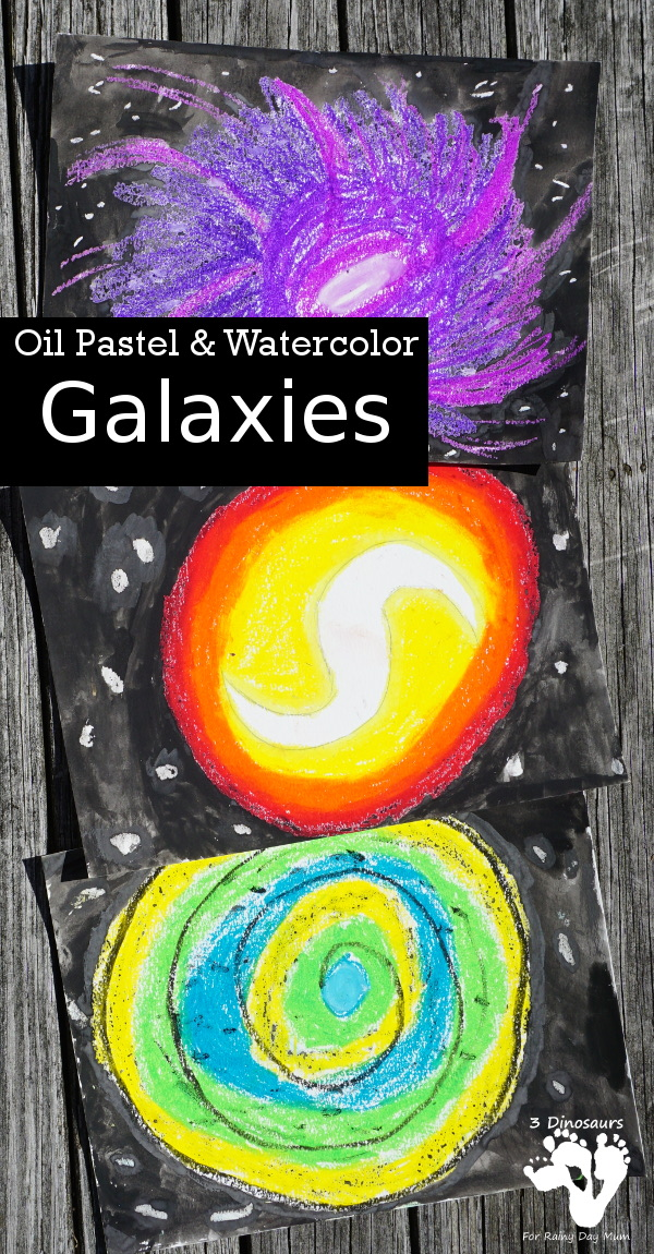 Galaxy Oil Pastels & Watercolors - is a fun mix medium art project for kids to do with a fun space theme - 3Dinosaurs.com