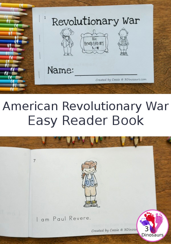 Free American Revolutionary War Easy Reader Book - 8 people to learn from the war with 10 pages total in the book - 3Dinosaurs.com