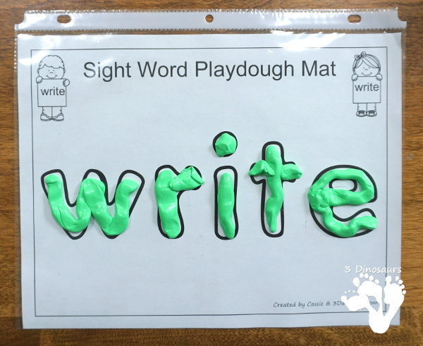 Free Romping & Roaring Second Grade Sight Words: write, your 6 pages of printables for each word - 3Dinosaurs.com
