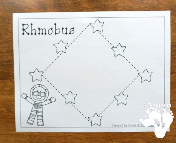 Free Fine Motor Fun With Space Shape Tracing - with 8 shapes for kids to trace and color - 3Dinosaurs.com
