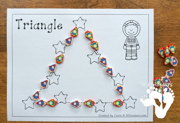Free Fine Motor Fun With Space Shape Tracing - with 10 shapes for kids to trace and color - 3Dinosaurs.com