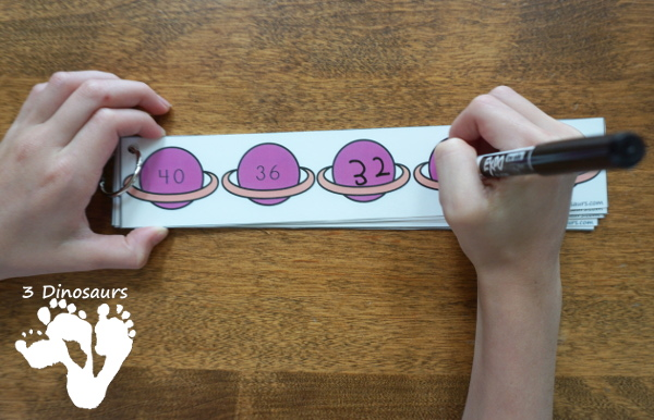 Free Space Theme Skip Counting Strips - 6 strips for each number from 1 to 12 with skip counting forward and backward - 3Dinosaurs.com #skipcounting #freeprintable