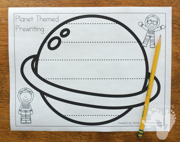 Free Fine Motor Fun: Planet Themed Prewriting Activity - 6 fun pages or prewriting on a planet with ideas of how to use them - 3Dinosaurs.com