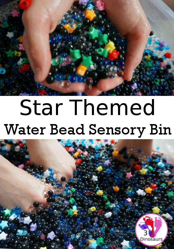 Star Themed Water Bead Sensory Bin - simple to make and play in with loads of space themed fun for kids  - 3Dinosaurs.com