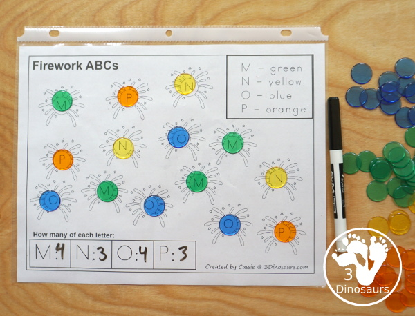 Free No-Prep Fireworks ABC Color & Count - with 4 uppercase letters per page with 7 pages of printables - 3Dinosaurs.com
