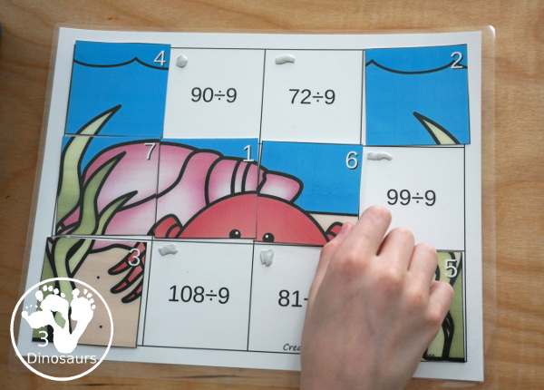 Hands-On Learning with Ocean Themed Division Puzzles -11 puzzles and mats to work on division from 2 to 12 with a fun way to learn. - 3Dinosaurs.com