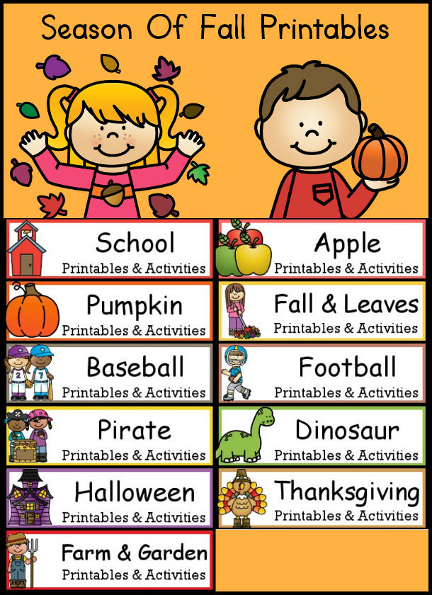 Round Up of Fall Printables from 3 Dinosaurs - huge amounts of printables with fall themes: Back to school, Leaves, Fall, Apples, Pumpkins, Halloween, Thanksgiving, and Christopher Columbus  - 3Dinosaurs.com