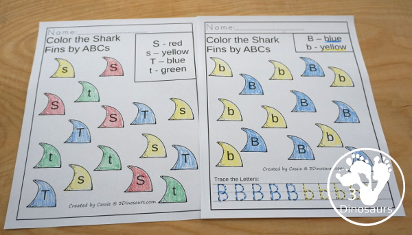 Shark Activity Pack: ABCs - fun no-prep pages that work on uppercase and lowercase letters. - 3Dinosaurs.com