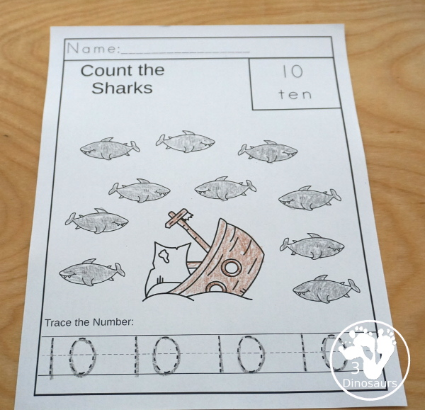 Shark Activity Pack: numbers - works on 0 to 10 for kids to learn numbers in an easy no-prep page to color and trace numbers. - 3Dinosaurs.com