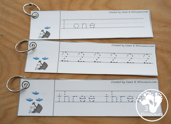 Shark Activity Pack: numbers - tracing strips with tracing the digit and word, number digit only and number word only. - 3Dinosaurs.com