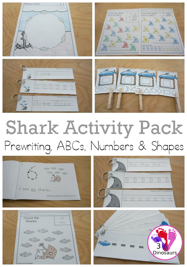 Shark Activity Pack: Prewriting, Shapes, ABCs & Numbers - a fun activity pack with 189 pages of printables with a mix of no-prep, easy reader books and clip cards for learning with a shark theme for kids to try out and learn with printables that all work together.  - 3Dinosaurs.com