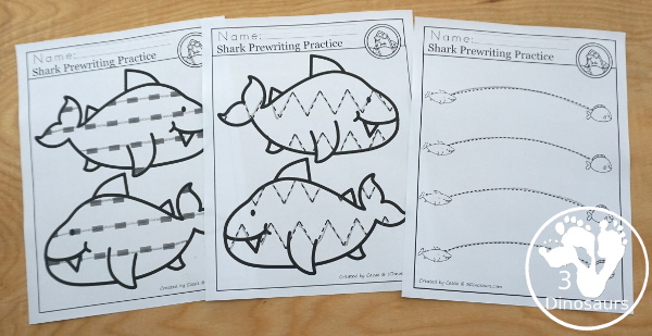 Shark Activity Pack: Prewriting - no-prep pages for tracing lines in sharks and prewriting lines pages - 3Dinosaurs.com