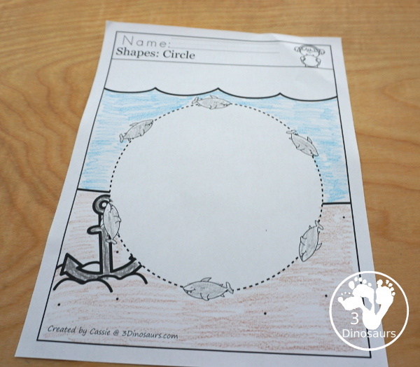 Shark Activity Pack: Shapes - a no-prep page for each of the 9 shapes in the set with tracing the shape with the sharks - 3Dinosaurs.com
