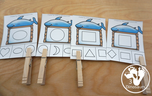 Shark Activity Pack: Shapes - clipcards are great for review of matching the same shape - 3Dinosaurs.com