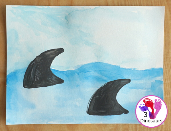 Shark Fin Painting with Cookie Cutters for Kids - an easy shark painting activities that kids of different ages can do - 3Dinosaurs.com