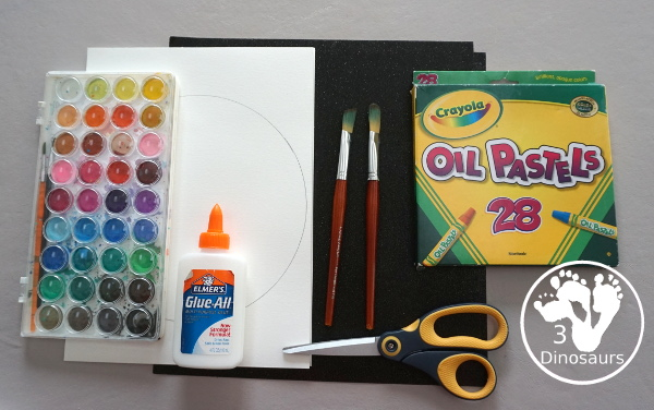 Watercolor & Oil Pastel: Planet Mars for kids - easy mix art projects for kids to do for the planet Mars. You have fun with different ages level doing the same art project- 3Dinosaurs.com  #3dinosaurs