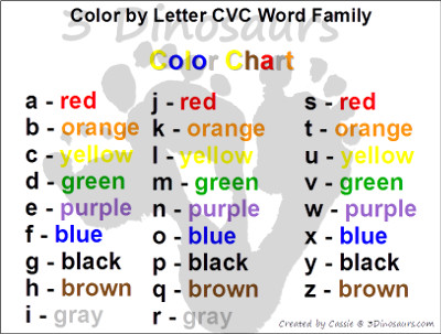 Free CVC Word Family Color by Letter! - 3Dinosaurs.com