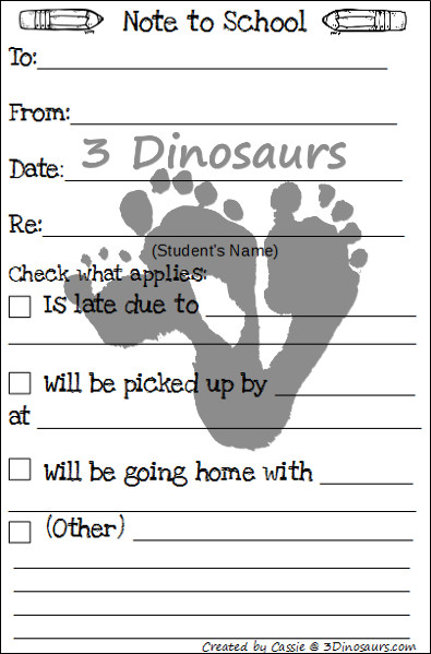 Back to School Printables - Blog Hop - 3Dinosaurs.com