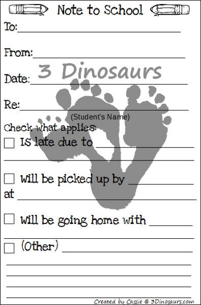 Back to School Printables - Blog Hop - 3Dinosaurs.com