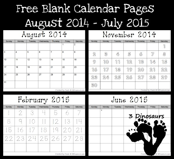 Free 2014-2015 Blank Calendar Printables  -3Dinosaurs.com