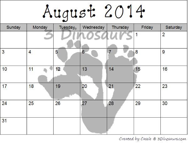 Free 2014-2015 Blank Calendar Printables  - 3Dinosaurs.com