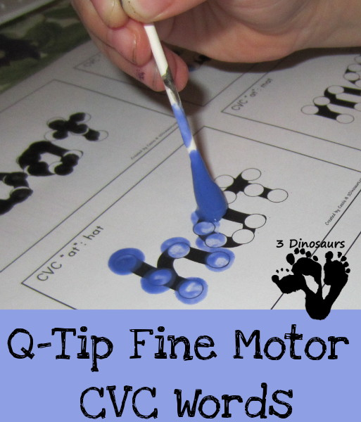 Practice CVC words with Q-tips #preschool #kindergarten