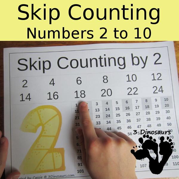 No-Prep Number Skip Counting Worksheet 3 Dinosaurs