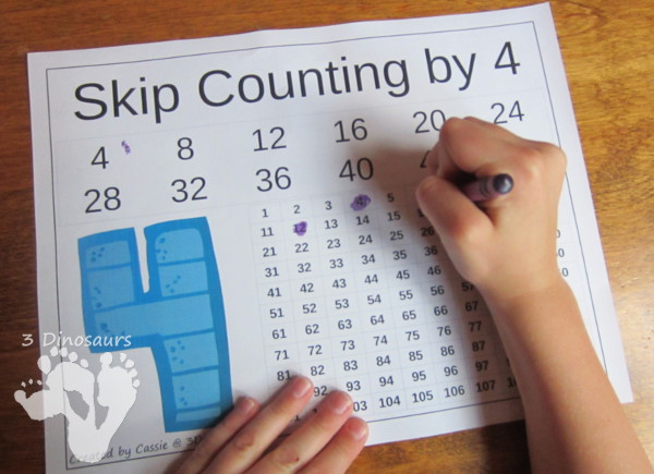 Free Number Skip Counting Printable - 3Dinosaurs.com