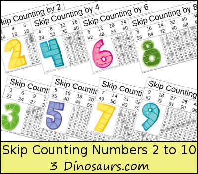 Number Names Worksheets skip counting by 3 worksheets : Free Number Skip Counting Printable | 3 Dinosaurs