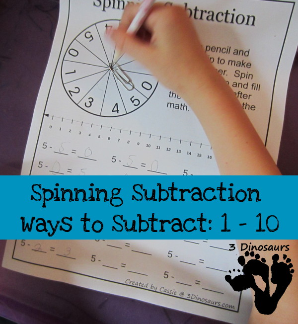 Spinning Subtraction: Ways to Subtract 1 to 10 | 3 Dinosaurs