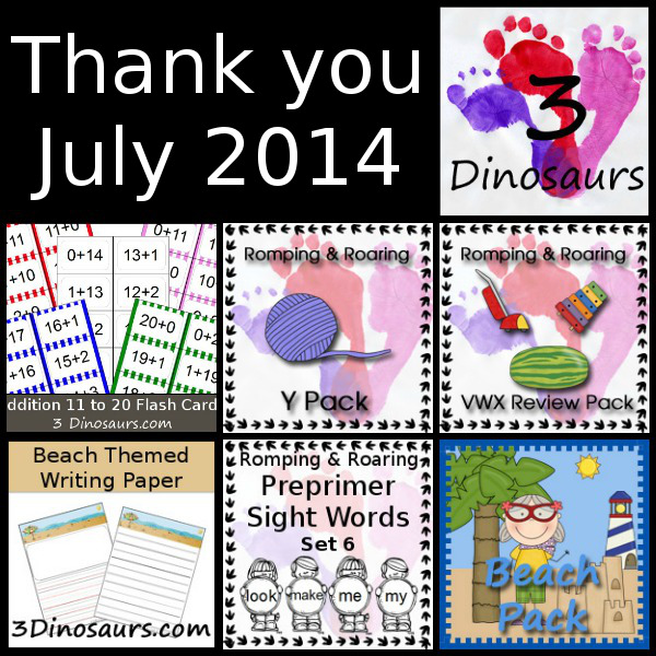 Thank You July 2014 & Printables From July Round Up - 3Dinosaurs.com
