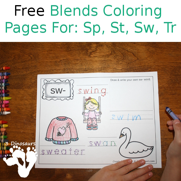 Free Blends Coloring Pages: Sp, St, Sw, Tr - 3Dinosaurs.com