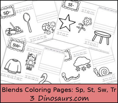Free Blends Coloring Pages: Sp, St, Sw, & Tr - 3Dinosaurs.com