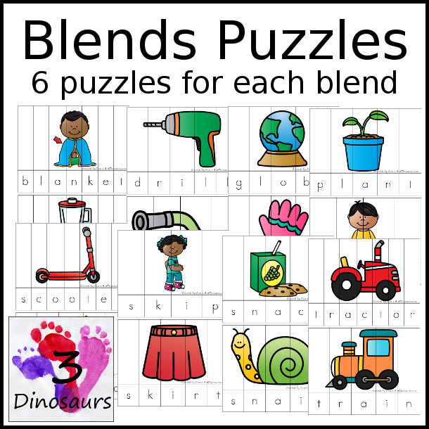 Blends Puzzles - 6 blends puzzles for each blend. It has the folloring blends: bl-, br-, cl-, cr-, fl-, fr--, gr-, gl-, pl-, pr-, sc-, sk-,sl-, sm-, sn-, sp-, st-, sw-, tr- $4 - 3Dinosaurs.com