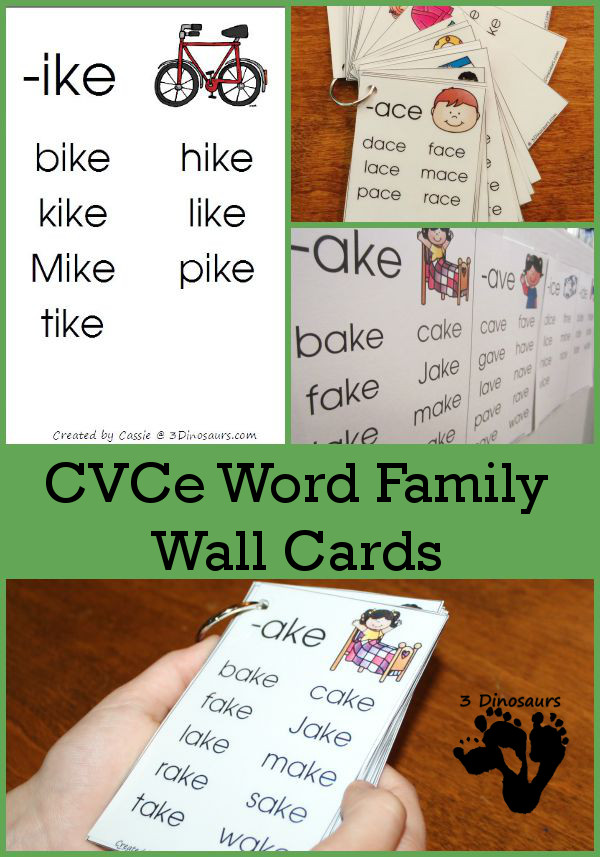 Free CVCe Word Family Wall Cards: -ace, -age, -ake, -ale, -ame, -ane, -ape, -ase, -ate, -ave, -ice, -ide, -ife, -ike, -ile, -ime, -ine, -ipe, -ise, -ite, -obe, -ode, -oke, -ole, -ome, -one, -ope, -ose, -ote, -ube, -ude, -ule, -une - - 3Dinosaurs.com