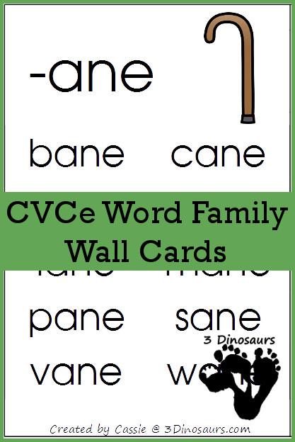 Free CVCe Word Family Wall Cards - 3Dinosaurs.com