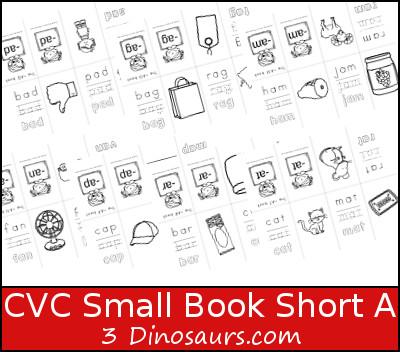 Free CVC Word Family Small Books: Short A - 3Dinosaurs.com