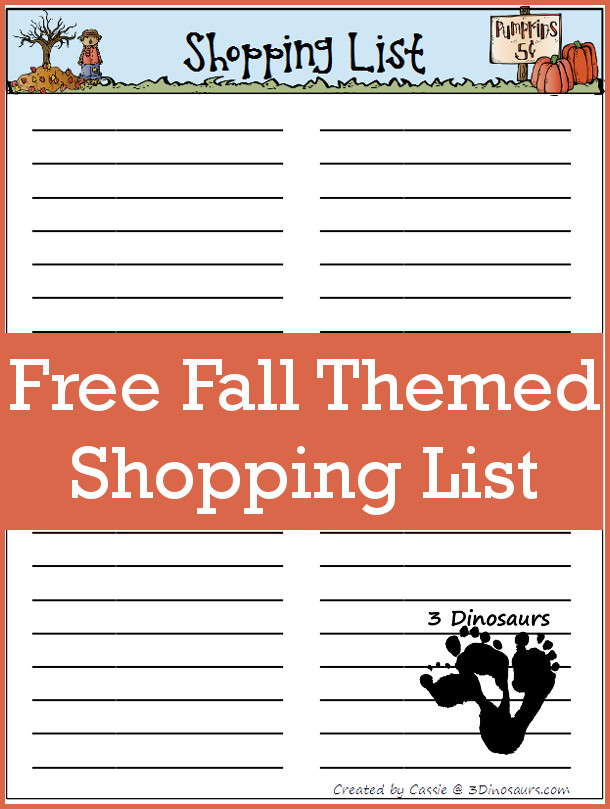Free Fall Shopping List and Monthly Goals September 2015 - 3Dinosaurs.com