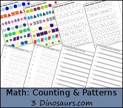 Free Math Patterns and Counting Activities - 3Dinosaurs.com
