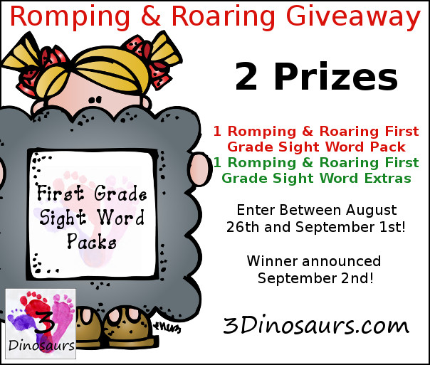Romping & Roaring First Grade Sight Words - 3Dinosaurs.com