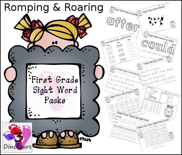 Romping & Roaring Primer Sight Words - 3Dinosaurs.com